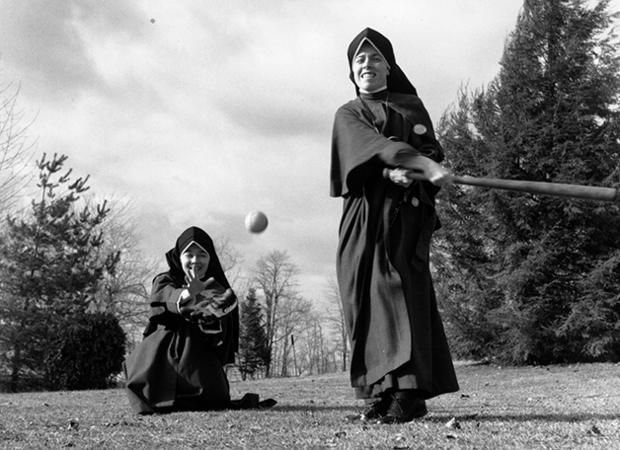 14th May 1976:  Two nuns playing baseball.  (Photo by De Vries/BIPs/Getty Images)